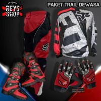 SETELAN BAJU TRAIL CROSS set DEWASA Sepatu Jersey Celana Glove Cross