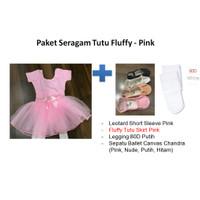 Seragam Ballet Tutu: Leotard+Rok Tutu Fluffy+Stocking+Sepatu Canvas