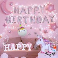[PAKET] Kids BIRTHDAY Set UNICORN LED Dekorasi Backdrop Ulangtahun - HAPPY BIRTHDAY