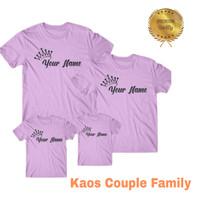 Kaos Custom Nama pake nama sendiri dengan mahkota anak,Ibu dan ayah