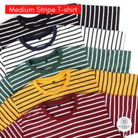 Kaos Stripe Polos Pria Garis Medium Series T-shirt Basic Salur Belang
