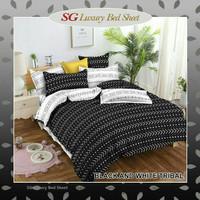 sprei bedcover katun premium size 90-200 motif black&white tribal - 90x200, Tinggi 20cm