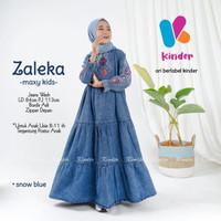 Gamis Jeans Anak Perempuan Dress Denim Anak Baju Muslim Anak Perempuan - Biru