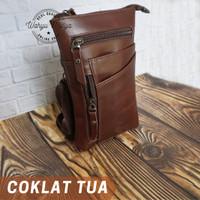 Tas kulit pria Waist bag tas selempang pria genuine leather kulit asli - cokelat tua
