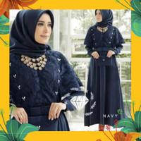Baju gamis wanita Brukat GG NADINE MAXI Dress Fashion Muslim terbaru - Navy, L