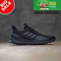 Adidas Questar Trail Full Black 100% Original BNWB Sepatu Hitam Polos