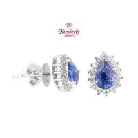 Anting Berlian Batu Blue Shappire KER662666 - Kimberly Jewellery