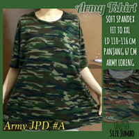Baju Atasan Kaos Oblong Jumbo Unisex Pria Wanita Motif Loreng Army XXL