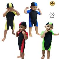 baju renang bayi diving swimsuit balita polos unisex cewe/cowo - No 1, Merah
