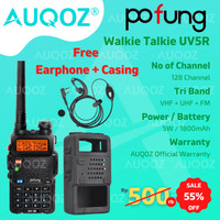 AUQOZ x Pofung UV5R Walkie Talkie - Radio HT UHF VHF + Case / Casing
