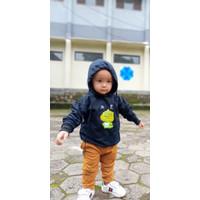 Sweater Anak Cute Chibi Dinosaurus Sweater Fleece Pakaian Anak Unisex - Hitam, L