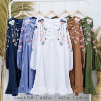 YC229 Tunik Putih Kemeja Bordir Atasan Wanita Jumbo Baju Muslim Ld130