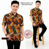 kemeja batik pria lengan pendek/baju kemeja batik keluarga/batik katun - foto ke-9, M
