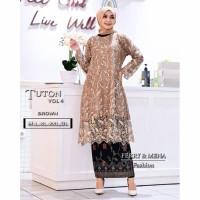Kebaya Tunik Tile Two Tone Nagita 2 Brukat Modern Jumbo Baju Kondangan - Mocca, atasan saja