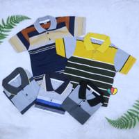 T-Shirt Anak Laki Kerah Salur uk 1-12 Tahun Kaos Atasan Baju Cowok