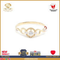SBJ - cincin emas kuning wanita perhiasan emas asli 375 CMM 087 R16