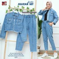 Julizar Set Setelan Celana Jeans Wanita Modis Baju Hangout Terbaru