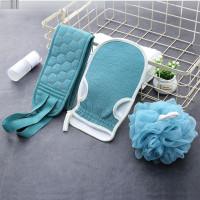 Penggosok punggung premium 1 set 3pcs bahan lembut sabun shampo - Biru