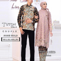 Kebaya COUPLE Tunik Tille TWO TONE KOMBINASI 2 Colour Modern - C.ROSE GOLD, XXXL