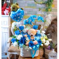 Bunga Balon Kelahiran Bayi Baby Boy New Born Balloon Flower Gift
