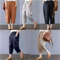 vidia crops pants celana baggy katun jumbo