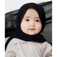 Pashmina Bayi anak balita KARET Matt Ceruty Usia 1 Tahun s/d 10 Tahun - Hitam