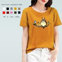 Kaos Wanita Totoro / Tshirt Katun Combed 30s / Tumblr Tee - Choco, M