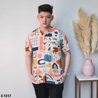 kemeja motif abstrak Kemeja slimfit pria kemeja hawai pria baju pantai