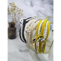 Bando Fashion Korea Dewasa Aksen Mutiara Pearl - Hitam