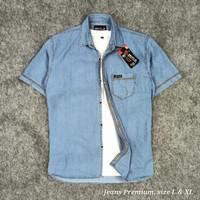 Kemeja jeans pria lengan pendek premium - foto no5, M