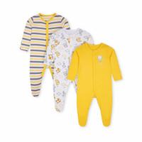 MOTHERCARE 3 pack yellow grey monkey sleepsuit baby, baju tidur bayi