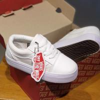 Sepatu Anak Vans Oldskool Full White Tali Sneakers Anak 21-35