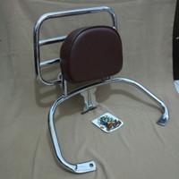 Aksesoris modern Vespa Back rack+bantalan Vespa GTS warna crome