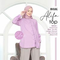 Baju atasan wanita muslim terbaru Alifa tunik polos real pict - LILAC, XS