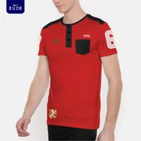 Kaos Casual Pria /Baju Pria Lengan Pendek / T-shirt Bilcir -88021- - HITAM MERAH, M
