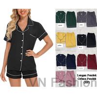 Baju Tidur Wanita Bahan Katun Silk Lengan Pendek Celana Pendek (HP)