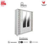 Lemari Pakaian Batik LP 4 / Lemari Baju Minimalis 4 pintu Cermin+Laci
