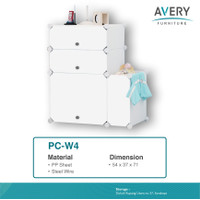 PC-W4 - Lemari Pakaian Plastik DIY / Rak Baju Multifungsi / Wardrobe