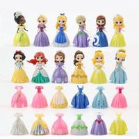 Figure Princess Set 12 Pcs Bisa Ganti Baju Elsa Anna Sofia Rapunzel