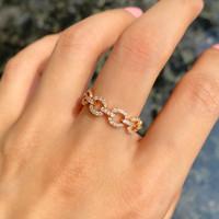 Mini Full Diamond Cable Chain Ring