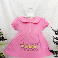 baju bayi perempuan 6 12 bulan beruang pink