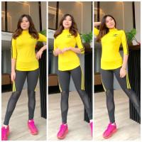 setelan baju olahraga wanita terbaru gym fitness yoga turtleneck senam