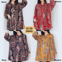 Kemeja Corak Jumbo K130v2 Baju Atasan Wanita Bigsize
