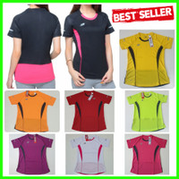 BARU Baju OlahRaga WANITA Senam Kaos Dry Fit Fitness Lari Training Gym