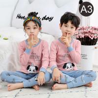 Setelan Baju Tidur Anak Laki Laki Perempuan Usia 1 - 11 Tahun Katun - A3, 100