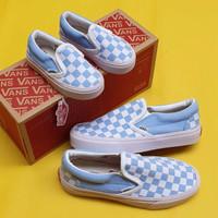 sepatu wanita vans slip on checkerboard blue size 36-40