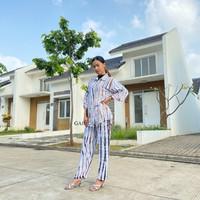 Setelan Piyama Lengan Pendek Bahan Rayon Garis Sripe Baju Tidur Wanita