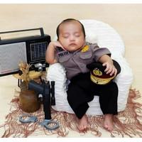 Kostum Polisi Set Topi Newborn/Kostum Bayi Photoshoot/Baju Bayi Lucu