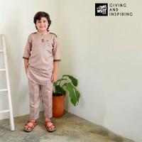 Set Baju Koko Celana Anak Balita TK SD Ammar Kids Attaqi Gently Red - Gently Red, S
