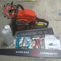 chainsaw komplit siap pakai bar 25 inch baja laser mesin gergaji